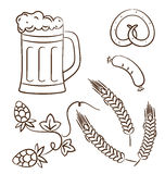 Octoberfest cartoon design elements (2), hand draw Royalty Free Stock Image