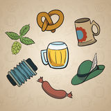 Octoberfest Cartoon Elements. Royalty Free Stock Images