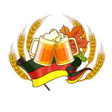 Octoberfest festival cartoon design with glass of beer, ears. Royalty Free Stock Photos