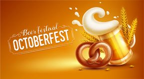 Octoberfest festival banner with beer pretzel and wheat Royalty Free Stock Image