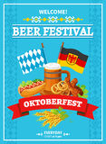 Octoberfest Festival Welcome Flat Poster. German annual oktoberfest beer festival invitation flat poster with flags beer and snacks abstract vector illustration Royalty Free Stock Images