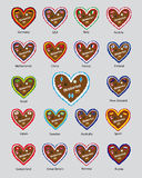 Octoberfest gingerbread hearts flag desing, most visiting countries Stock Photo