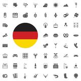 Octoberfest icon set. German food and beer symbols isolated on white background. Vector illustration.Oktoberfest beer festival fla. German flag round icon Royalty Free Stock Image
