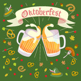 Octoberfest illustration. Illustration in vector about traditional beer festival in German. Octoberfest concept. Flat design cartoon illustration with man and Stock Image