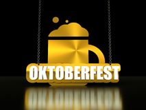 Octoberfest isometric text. Octoberfest word and beer mug hanging from a chain on dark background. 3D rendering. Bavarian flag texture Stock Photo