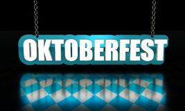 Octoberfest isometric text. Octoberfest word hanging from a chain on dark background. 3D rendering Stock Image