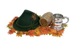 Octoberfest kit. Consisting of a festive hat, a sturdy beer stein and access to the keg - path included Stock Photo