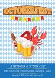Octoberfest Oktoberfest Promotional Poster Vector. Octoberfest or Oktoberfest promotional poster with checkered backdrop. Vector illustration of lobster, fried Stock Photo