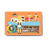 Octoberfest party flyer. Man and woman drinking beer with friend Royalty Free Stock Images