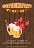 Octoberfest Poster with Dark Wooden Background. Octoberfest promotional poster with dark wooden backdrop. Vector illustration of lobster, fried fish, slice of Stock Image