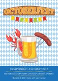 Octoberfest Poster Depicting Beer Mug and Food. Octoberfest poster with chess pattern background.  vector illustration of full beer, cooked lobster and fried Royalty Free Stock Photography