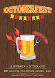 Octoberfest Poster Depicting Beer Mug and Food. Octoberfest poster with wooden background.  vector illustration of full beer, cooked lobster and fried sausage on Royalty Free Stock Photography