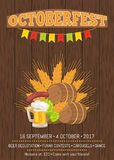 Octoberfest Poster with Barrels, Food and Beer. Octoberfest poster.  vector illustration of wooden barrels, ripe wheat ears, fried sausage on carving knife Royalty Free Stock Images