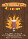 Octoberfest Promotional Poster with Beer Glass Stock Images