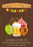 Octoberfest Promotional Poster with Food and Drink. Octoberfest promotional poster with dark wooden background. Vector illustration of foamy beer mug, tasty Stock Photos