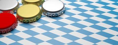 Octoberfest, tampões da cerveja em Baviera embandeira o fundo, bandeira, espaço da cópia ilustração 3D Fotografia de Stock