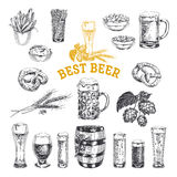 Octoberfest vector set. Beer products. Illustrations in sketch s Stock Images