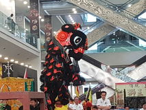 29 octobre 2016, 2ème Lion Dance Championship traditionnel national malaisien 2016 à une ville Subang USJ, Malaisie Images stock