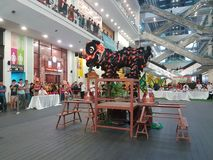 29 octobre 2016, 2ème Lion Dance Championship traditionnel national malaisien 2016 à une ville Subang USJ, Malaisie Photographie stock libre de droits