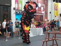 29 octobre 2016, 2ème Lion Dance Championship traditionnel national malaisien 2016 à une ville Subang USJ, Malaisie Photo libre de droits