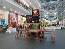 29 octobre 2016, 2ème Lion Dance Championship traditionnel national malaisien 2016 à une ville Subang USJ, Malaisie Image stock