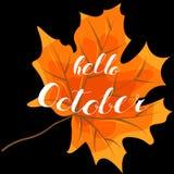 Octobre bonjour, le lettrage de main, cite Images stock