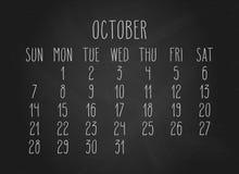Octobre 2018 calendrier illustration stock