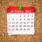 Octobre 2014 calendrier Photographie stock