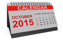 Octobre 2015, calendrier de bureau Image stock