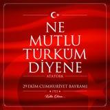 29 octobre, carte de célébration de la Turquie de jour de République image stock