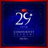 29 octobre, carte de célébration de la Turquie de jour de République images stock