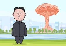 OCTOBRE, 30, 2017 : Explosion de bombe nucléaire dans la ville, les champignons atomiques et le caractère de caricature du Coréen illustration stock
