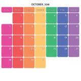 octobre 2018 grands jours de la semaine de couleur de l'espace de note de planificateur sur le blanc Image libre de droits