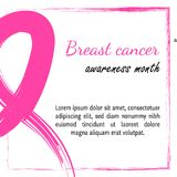 15 octobre illustration de vecteur pour le jour de cancer du sein Symbole de conscience d'aquarelle - ruban rose de crayon Tiré p illustration libre de droits