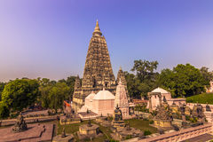 30 octobre 2014 : Jardins du temple bouddhiste de Mahabodhi en BO Image stock