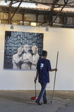 2 octobre, Tel Aviv - exposition de photo dans le téléphone Aviv-Jaffa, un inconnu Photo stock
