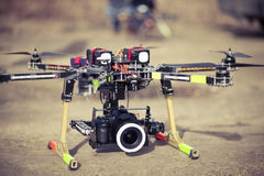 Octocopter drone ready to takeoff Royalty Free Stock Photography