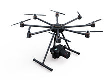 Octocopter with DSLR camera isolated on white background Stock Images