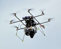 Octocopter flying Royalty Free Stock Photography