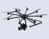 Octocopter flying in the sky Stock Photography