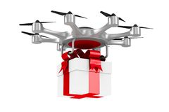Octocopter with gift box on white background. Isolated 3d illust Stock Photos