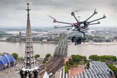 Octocopter, helicóptero, abejón Fotografía de archivo libre de regalías