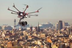 Octocopter, helicóptero, abejón Fotos de archivo libres de regalías