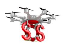 Octocopter with lifebuoy on white background. Isolated 3d   Stock Photos