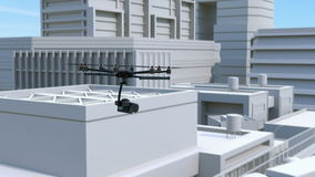 Octocopter recording car accident by DSLR camera. 3D rendering animation stock video