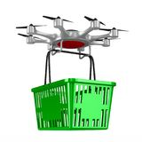 Octocopter with shopping basket on white background. Isolated 3d Royalty Free Stock Image