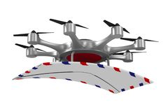 Octocopter z poczta na białym tle Odosobniony 3d illustrati Zdjęcia Stock