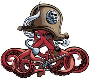 Octopus the Ð¡orsair. Vector colourful illustration of one-eyed octopus in the tricorn with pistol and tobacco pipe in his tentacles, isolated on white royalty free illustration