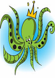 Octopus. A green smiling octopus with a crown Stock Photos
