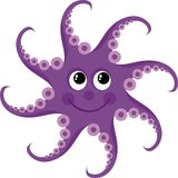 Octopus. Little purple octopus with eyes Royalty Free Stock Photo